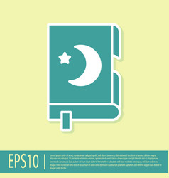 Green holy book koran icon isolated on yellow vector