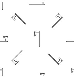 Grey line medieval axe icon isolated seamless vector