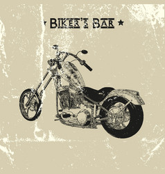 hand drawn vintage motorcycle vector image