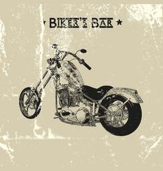 Hand drawn vintage motorcycle vector