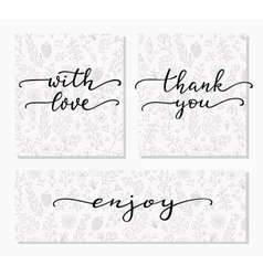 Hand written calligraphy style messages set vector image