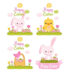 Happy Easter set with cartoon cute bunny chicken vector image