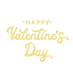 Happy valentines day lettering with gold glitter vector
