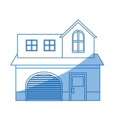 Home garage facade structure two story outline vector