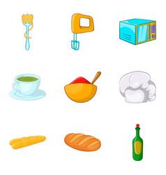 Hot dish icons set cartoon style vector