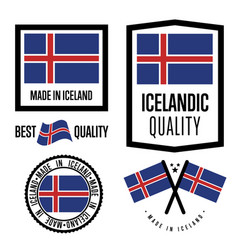 Iceland quality label set for goods vector