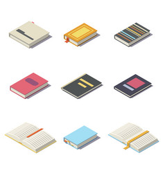 Isometric books with shadows vector