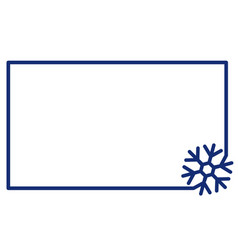 linear frame with corner element snowflake label vector image