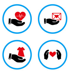 Love offer hand rounded icons vector
