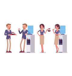 male and female office secretary at water cooler vector image