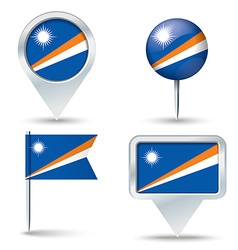 Map pins with flag of Marshall Islands vector
