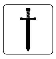Medieval sword icon black vector