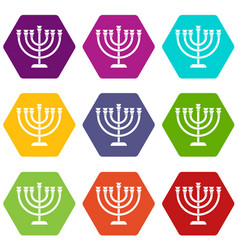 Menorah icon set color hexahedron vector