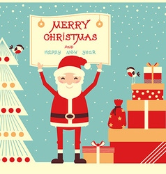 Merry christmas card with Santa Claus and presents vector image