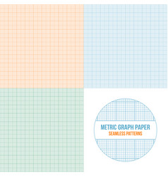 Metric graph paper seamless patterns set vector