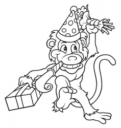 monkey and birthday vector image