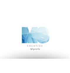 ms m s blue polygonal alphabet letter logo icon vector image