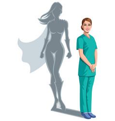 nurse superheroine shadow vector image