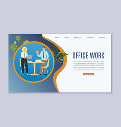 office work and business workplace web template vector image