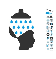 Open Brain Shower Icon With Air Drone Tools Bonus vector image
