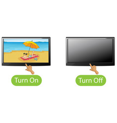 Opposite words with turn on and turn off vector
