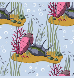 pattern with coral reef vector image
