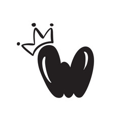 plump vintage cute letter w with crown vector image