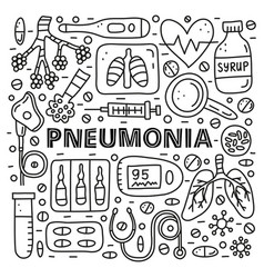 Poster with lettering and doodle outline pneumonia vector