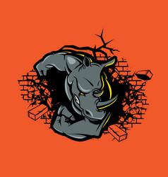 rhino crushes wall vector image