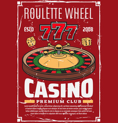roulette wheel retro dice lucky numbers vector image