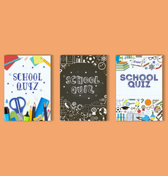 school quiz poster template set vector image