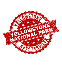 Scratched textured yellowstone national park stamp vector