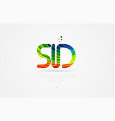 Sd s d rainbow colored alphabet letter logo vector
