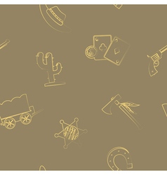 Seamless background with cowboys and wild west vector image