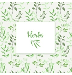 Seamless green plant background with square frame vector image vector image