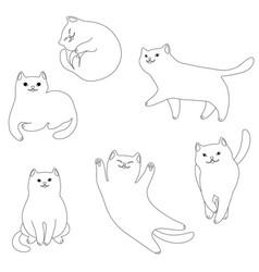set cartoon white cats vector image