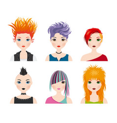 set girl avatars with punk style vector image
