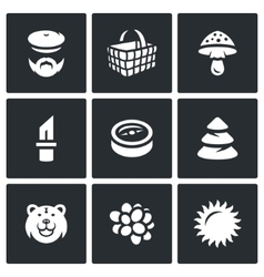 Set of Gathering in the Forest Icons vector image