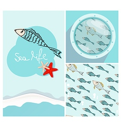 Set of nautical themed designs with swimming fish vector image