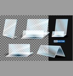 set of realistic acrylic blank transparent plastic vector image