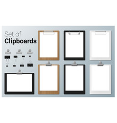 set realistic clipboards vector image