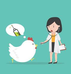 Sick chicken swine flu with doctor vector