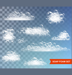 Soap foam with bubbles isolated vector