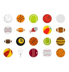 sport balls icon set flat style vector image