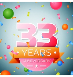 Thirty three years anniversary celebration vector image