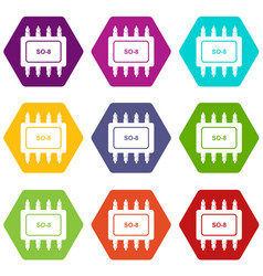 Transistor microchip icons set 9 vector
