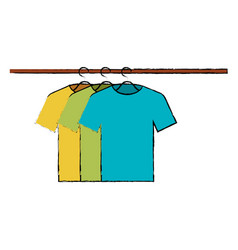 tshirts hanging in hook vector image