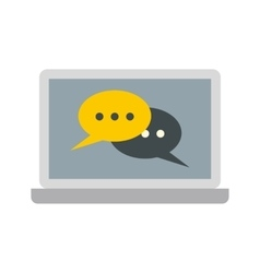 Two speech bubbles on a laptop icon flat style vector image
