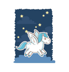unicorn wings magic animal night background poster vector image