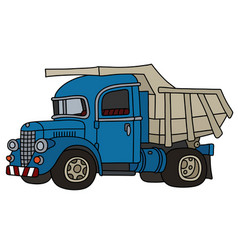 Vintage blue dumper truck vector